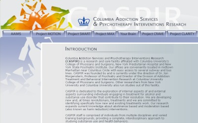Columbia Addiction Services & Psychotherapy Interventions Research (CASPIR)